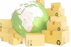 Kartongsändnings och världsomspännande leveransaffärsidé, jordplanetjordklot framförande 3d Beståndsdelar av denna avbildar Arkivfoton