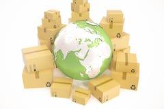 Kartongsändnings och världsomspännande leveransaffärsidé, jordplanetjordklot framförande 3d Beståndsdelar av denna avbildar Arkivbild