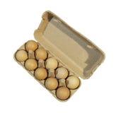 Kartonieren Sie Paket, zehn braune Eier in einem Kartonpaket, das auf w lokalisiert wird Lizenzfreies Stockbild
