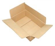 Kartonkasten offen und benutzt Stockfoto