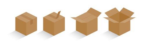 Kartonkastenfarbe mit Schatten Lizenzfreie Abbildung