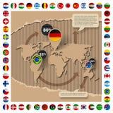 Kartonmalplaatje met wereldkaart en vlaggen Stock Fotografie