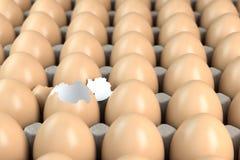 Kartonowa taca z brązów jajkami, jeden jajko jest łamana Lider lub indywidualności pojęcie ilustracja wektor