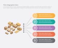 Kartonowej wysyłki biznesowych dane szablonu infographic sztandar dla ewidencyjnej statystyki - wektor ilustracja wektor