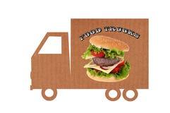 Kartonowy jedzenie ciężarówki pojęcie na białym tle obraz stock