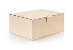 Kartonowy Kraft pudełko otwarty i odosobniony na białym tle Fotografia Royalty Free