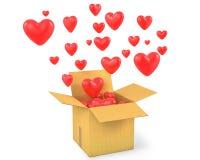 Kartonu pudełko z mnóstwo latania mnóstwo sercami Zdjęcie Royalty Free