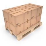 Kartony na drewnianym barłogu & x28; 3d x29 illustration&; Zdjęcie Stock