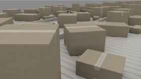 Kartony odtransportowywają na konwejerach, zamykają up, CGI Obraz Royalty Free