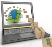 Kartony wokoło kuli ziemskiej na laptopu ekranie Obrazy Royalty Free