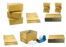 Kartony z arachidem pienią się z narzędziem dla pakować zdjęcia royalty free
