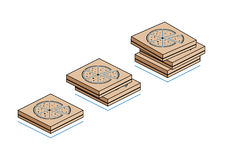 Kartony z pizzą odizolowywającą na białym tle Obraz Stock