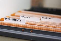 Kartoteki falcówki Przylepiać etykietkę inwestycje Obraz Stock