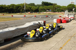 Karts near a racing circuit Royalty Free Stock Photography
