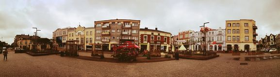 Kartuzy city center. Artistic look in vintage vivid colours. Royalty Free Stock Photos