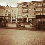 Kartuzy-Stadtzentrum Künstlerischer Blick in den Weinlesekräftigen farben Lizenzfreies Stockbild