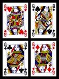 karty bawić się królowe Obrazy Stock