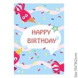Karty dla dzieciaka wszystkiego najlepszego z okazji urodzin Ośmiornica śliczna i świąteczna royalty ilustracja
