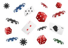 Karty do gry, grzebaków układy scaleni i kostki do gry, latają kasyno odizolowywającego na białym tle Grzebak kasynowa wektorowa  ilustracji