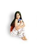 karty dziewczyny kredytowego posiedzenia Zdjęcia Stock
