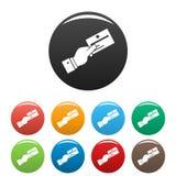 Karty kredytowej firmy ikona ustawiający kolor ilustracji
