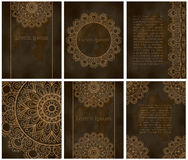 Karty lub zaproszenia z mandala wzorem Obrazy Stock