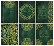 Karty lub zaproszenia z mandala wzorem Zdjęcie Royalty Free