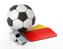 Karty, piłki nożnej piłka i gwizd odizolowywający na białym tle, ilustracja 3 d ilustracja wektor