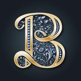 karty poboru ślub ilustracyjny Wektoru listowy b Złoty abecadło na ciemnym tle Pełen wdzięku heraldyczny symbol Inicjały monogram royalty ilustracja