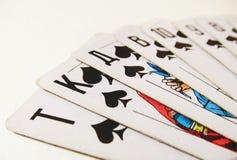 karty spłukuje grać w pokera królewskie fotografia stock