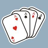 karty spłukuje grać w pokera królewskie Cztery karcianego symbolu przygotowywa ikonę Obraz Royalty Free