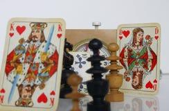 Karty szachowej gry postaci czasu zegaru sztuki gemowa strategia Obraz Stock