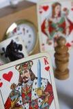 Karty szachowej gry postaci czasu zegaru sztuki gemowa strategia Fotografia Royalty Free