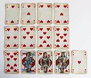 Karty sztuki gemowej zabawy czerwieni kierowa liczba Fotografia Royalty Free