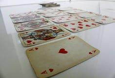 Karty sztuki gemowej zabawy czerwieni kierowa liczba Obraz Stock
