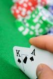Karty target1062_1_ kombinację w Czarny Jack w ręce Zdjęcia Stock