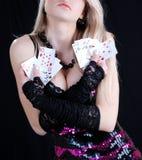 karty target676_1_ bawić się seksownej kobiety Obrazy Royalty Free