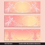 Karty z dekoracyjnymi elementami Obrazy Stock