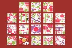 Karty z tradycyjnym azjata wzorem, oryginalny projekt, dekoracyjnej szablon tekstury kolorowe wektorowe ilustracje ilustracja wektor