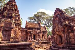 Free Karuda Bird Gardians Carvings At Banteay Srei Red Sandstone Temple, Cambodia Stock Image - 152239841