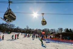 Karuizawa, JAPAN - June 8, 2018:People to play ski ,snowboard and cable car at ski resort in winter on holiday of Nagano. Prefecture, Japan stock photo