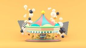 Karusell bland färgrika bollar på orange bakgrund royaltyfri illustrationer
