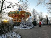 Karusell i Tivoli, Köpenhamn Royaltyfri Fotografi