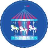 Karusell med den färgrika symbolen för hästar royaltyfri illustrationer