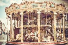 Karusell med hästar i nordliga Frankrike Royaltyfria Foton