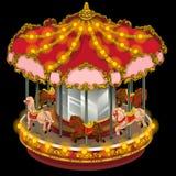 Karusell med hästar på en svart bakgrund royaltyfri illustrationer