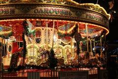 Karusell på natten Royaltyfria Bilder