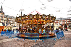 Karusell på plazaen de Borgmästare i Madrid Royaltyfria Foton