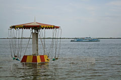 Karusell på stranden Royaltyfri Fotografi