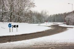 Karussell im Schnee Stockbilder
